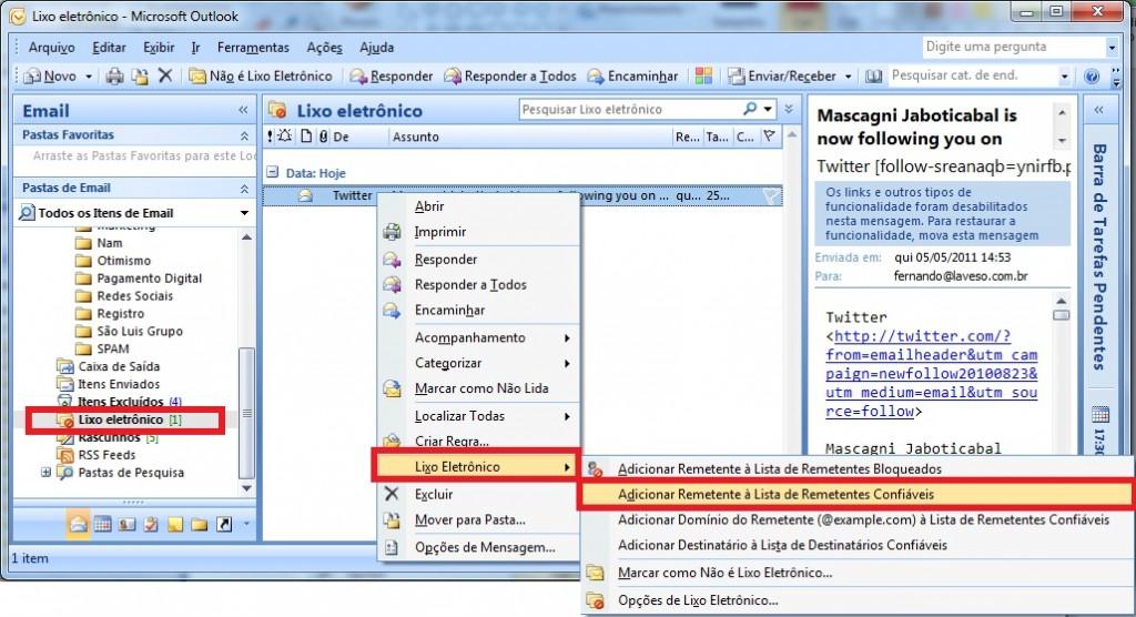 Lixo eletrônico do Outlook