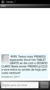 SMS de propaganda enviada pela Claro