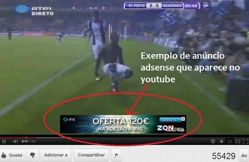 Exemplo de anúncio / propaganda adsense no Youtube