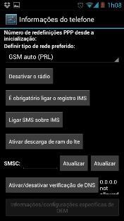Tela de configuração do telefone SMSC - Central SMS