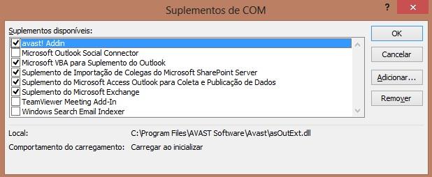 Janela de complementos do Microsoft Outlook