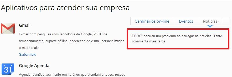 Google APPs com erro