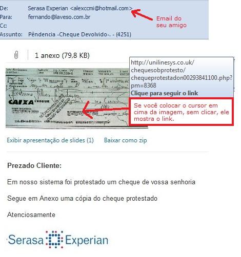 Email em nome de Serasa Experian - Devolução de cheque