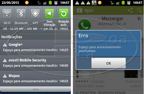 Erro - Espaço insuficiente no Android Google Play