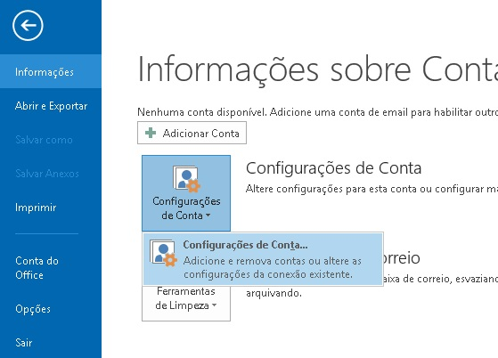 Botão Configurações de Conta - Microsoft Outlook