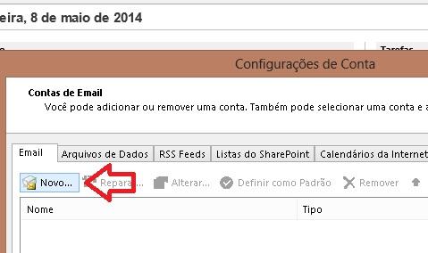 Botão Novo - Microsoft Outlook