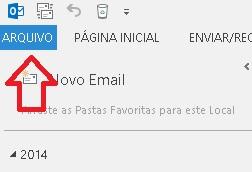 Menú arquivo - Microsoft Outlook