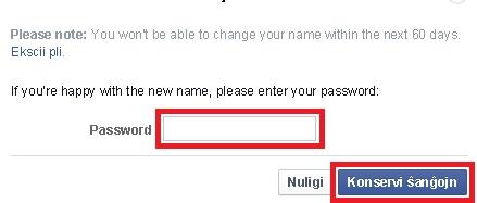 Alteração do nome de perfil do Facebook