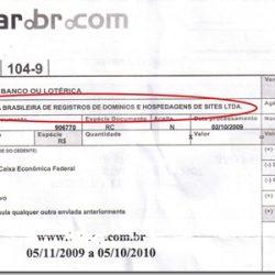 Boleto falso de registro de domínio