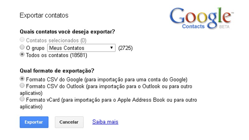 Exportar contatos do Google Android